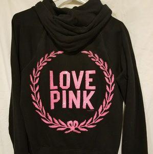 VS PINK Black & Pink Full-Zip Hoodie